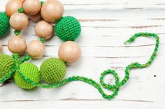 Items similar to Nursing necklace Teething necklace Baby nursing toy Necklace for mom Juniper Wood Organic cotton Green Crochet on Etsy Nursing Necklace, Teething Necklace, Beaded Necklace, Toy, Trending Outfits, Unique Jewelry, Classic, Handmade Gifts, Beaded Collar