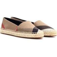Burberry London Hodgeson Check Espadrilles ($415) ❤ liked on Polyvore featuring shoes, sandals, beige, espadrilles, burberry espadrilles, burberry shoes, beige sandals, burberry and espadrille sandals