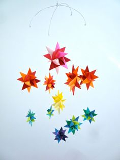 --Colorful Mobile---  Baby Crib Mobile Hanging Origami Stars -'Ursa Minor' Rainbow. $38.00, via Etsy.