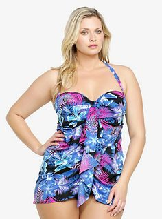 Tropical Print Drape Front One-Piece Swimsuit | Torrid