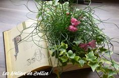 Composition florale dans un livre creusé, mariage sur le thème littérature