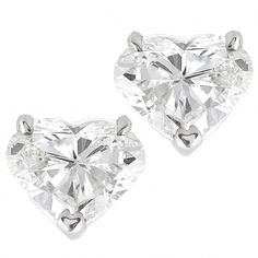 Gold Stud Earrings Vintage Heart Shaped Diamond Studs Anic Jewelry 1 Shapes White