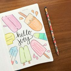 With the July getting closer, I thought it would be fun to share a roundup of bullet journal spreads for the month of July. July cover page with popsicles.