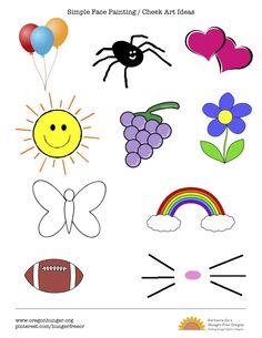 Simple, quick, and easy face painting and cheek art ideas.  Options for kids to choose from.