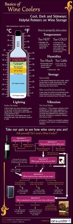 Other Infographics - Wine Infographic. The Basics of Wine Coolers & Storage. Cool, Dark and Sideways: Helpful Pointers On Wine Storage. Vino Y Chocolate, Wine Infographic, Wine Facts, Alcohol, Wine Education, Wine Guide, Spiritus, In Vino Veritas, Wine And Beer