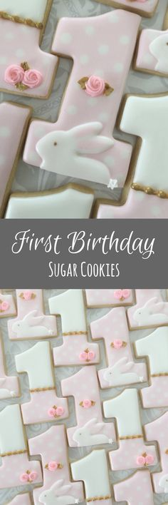 Some Bunny is One First birthday - One Dozen Decorated Sugar Cookies #affiliate