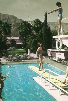 "Palm Springs CA ""Swimming Pool, The El Mirador Hotel Postcard California Palm Springs Hotels, Palm Springs Style, Palm Springs California, Southern California, Vintage Swim, Moda Vintage, Slim Aarons, Bikini, Summer Vibes"