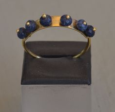 Blue Zad Studded Solid 18K Yellow Gold Rind by ViazisJewelry on Etsy