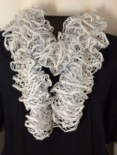 Sparkly Silver and White Ruffle Scarf  Hand knitted by tonebelle, $20.00