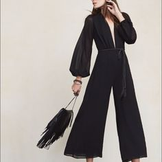 BRAND NEW (with tags) Darla jumpsuit in Black Wide leg / low cut / culotte / black jumpsuit / sheer Reformation Other