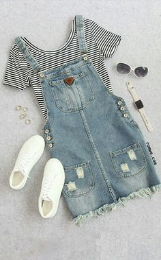 Cute summer thin striped crop t shirt with denim overall dress romwe com best punk outfits ideas Teen Fashion Outfits, Mode Outfits, Outfits For Teens, Dress Outfits, Girl Outfits, Tumblr Summer Outfits, Denim Overalls Outfit, Teen Fall Outfits, Cute Overalls