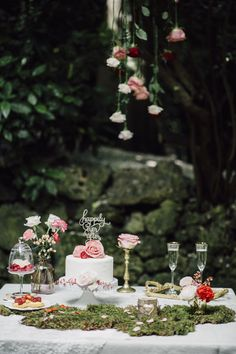pink and red sweet table inspired by the sleeping beauty