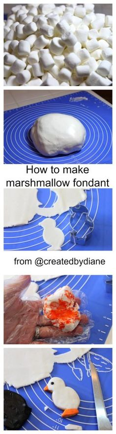 Today I'm going to show you how to turn marshmallow in marshmallow fondant. Have you seen all those cake shows where they have covered a cake with a very smooth finish? That is fondant, and although there are different types, marshmallow fondant is easy and fun to make. You'll need 16 oz mini marshmallows 2-5 T water 2 lbs powdered sugar 1/4 cup Crisco I made mine on a silicone mat, which made it very easy to work with, if you don't have a silicone mat, just grease a cutting...