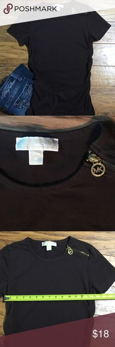 Michael Kors Top Chocolate brown zip shoulder top.  Gathered sides. Michael Kors Tops