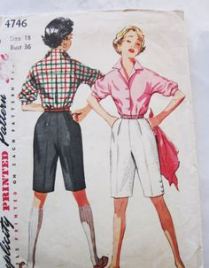 50s Simplicity 4746 Crisp Walking Bermuda Shorts and blouse pattern