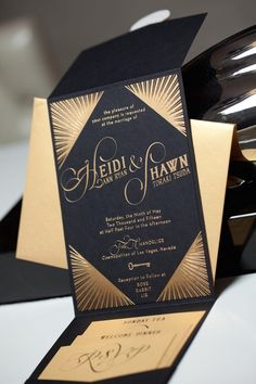 Art Deco Wedding Invitations for a 1920s Art Deco Theme Wedding