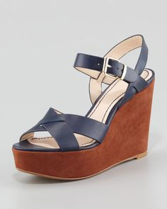 Lysa Wedge Sandal, Navy by Pour la Victoire at Neiman Marcus.