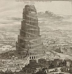 An illustration of the tower of Babel from Athanasius Kircher's book on the same subject (the title is a mile long). This is partly the inspiration for the Turris Imperio in the book.
