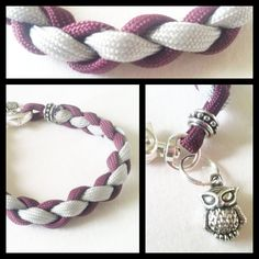 A more feminine approach to the typical Paracord Bracelets,    This one of a kind parcord charm bracelet is weaved with a maroon & gray paracord  Complimented with beautiful silver beads & a rustic owl charm.