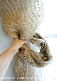 No-Sew Landscape Burlap Swag Curtains How to make a knotted burlap curtain swag Burlap Swag, Burlap Drapes, Swag Curtains, Rustic Curtains, Burlap Window Treatments, Custom Window Treatments, Window Coverings, Pretty Landscapes, Burlap Projects