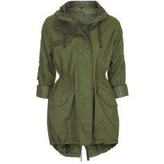 TOPSHOP Casual Padded Parka Jacket (1,110 EGP) ❤ liked on Polyvore featuring outerwear, jackets, coats, tops, coats & jackets, khaki, green hooded parka, green jacket, hooded parka and cotton hooded jacket