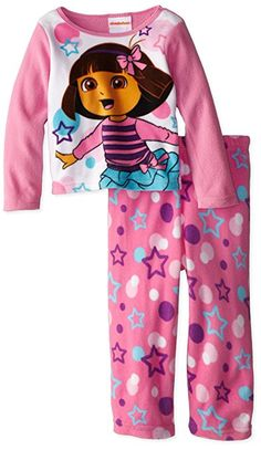 Dora the Explorer Little Girls' Stars and Dots Cozy Fleece Pajama Set, Multi, Dora Toys, Pajama Set, Pajama Pants, Fleece Pajamas, Dora The Explorer, T Shirt Diy, Family Shirts, Shirt Style, Little Girls