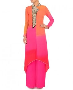 Mango & Rose Shaded Anarkali with Wide Pants