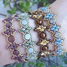 Twin Peaks Bracelets, free pattern at AroundTheBeadingTable.com
