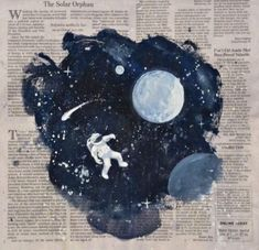 Newspaper space moon astronaut painting art