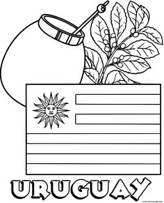 Print uruguay flag yerba mate coloring pages