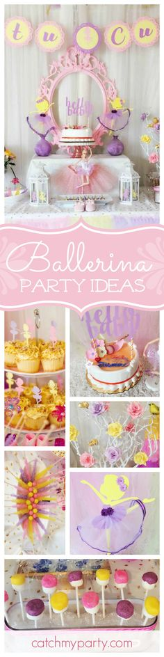 Check out this gorgeous Ballerina birthday party! The dessert table and birthday cake are beautiful! See more party ideas and share yours at CatchMyParty.com