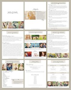 "Pricing and marketing guide for photographers to give to clients. A ""Welcome Packet"" ."