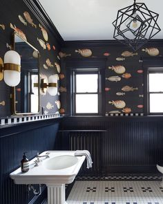 "Chairish By Design on Instagram: ""Just keep swimming 🐡 {#wallpaper by @cole_and_son_wallpapers, #interiordesign by @widellboschetti, 📷 by @brianwetzelphoto}"" Keep Swimming, Cole And Son, Washroom, Instagram Accounts, Interior Inspiration, New Homes, Bath, Interior Design, House"