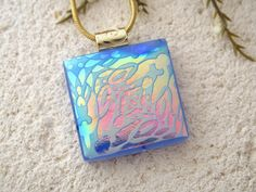 Periwinkle Satin Dichroic Necklace Dichroic Jewelry by ccvalenzo