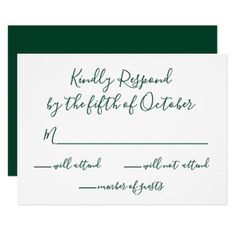 Monogrammed Gold Crest and Green Wedding rsvp Card - wedding invitations cards custom invitation card design marriage party