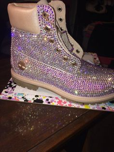 Custom bling Timberlands - All About Bling Shoes, Glitter Shoes, Bling Converse, Glitter Paint, Sock Shoes, Shoe Boots, Pink Timberlands, Timberlands Women, Timberland Waterproof Boots