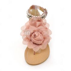 Leatherette Flat Heel Sandals / Flats With Satin Flower Beading