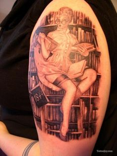 Library Pinup Girl Tattoo (reading is fundamental)