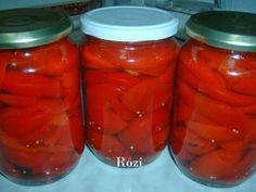 Rozi erdélyi,székely konyhája: Paradicsompaprika (gogos) ecetben 60 Kg, Pickles, Carrots, Salsa, Mason Jars, Stuffed Peppers, Canning, Vegetables, Food