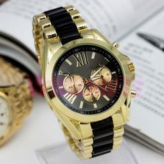 Geneva Fashion Men Gold Stainless Steel Quartz Analog Sport Women Wrist Watch