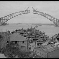 03 - Sydney Harbour Bridge Construction Sydney Harbour Bridge under construction. Bridge Construction, Under Construction, Australian Photography, White Photography, Brisbane, Melbourne, Arch Bridge, 6 Photos, Pictures