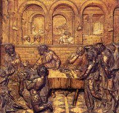 CONVITO DI ERODE - Donatello - 1425/1427 - bronzo dorato - particolare del fonte battesimale del battistero di Siena - altorilievo
