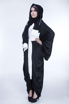 Madame is tailored using satin crepe, lace and satin lining fabrics. A matching chiffon hijab completes the gorgeous ensemble. Chiffon Hijab, Jeddah, Abaya Fashion, Muslim, Egypt, Fabrics, Satin, Couture, Lace
