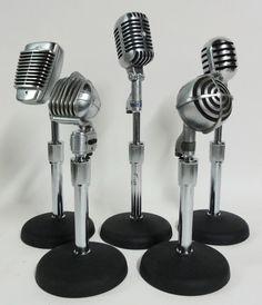 Lost Found Art - Vintage Machine Age Microphones Old Microphone, Vintage Microphone, Music Studio Room, Studio 57, Objets Antiques, Dear White People, Old Time Radio, Machine Age, Dj Equipment