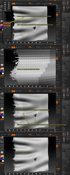 Torn Cloth Tutorial from: gmp1993 on ZBC After some experimenting I finally figured out how to do it in Zbrush, and it looks pretty good. Quick overview of it is your using a weave pattern with Micro Mesh to Geo to get you torn fabric, but doing the whole model this way will create an insane amount of polys, so figured out how to just make the edges geo and the rest of the model using Micro Mesh during the BPR. I go into detail below.
