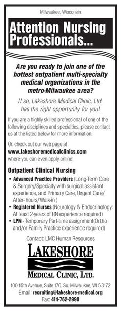 Advanced Practice Providers, Registered Nurses, LPN job in S Milwaukee Wisconsin | NEWS-Line for Healthcare Professionals