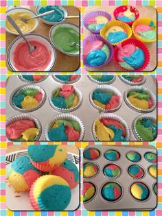 Cake Recipes Vanilla Birthday - New ideas Mini Cakes, Cupcake Cakes, Cupcake Recipes, Dessert Recipes, Brownie Recipes, Rainbow Cupcakes, Unicorn Cupcakes, Carnival Cupcakes, Easter Cupcakes