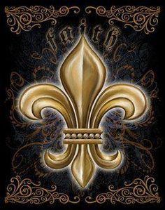 Fleur-de-lis, symbol of New Orleans Decoupage, Believe Sign, New Orleans Saints Football, Nfl Saints, French Royalty, Stencils, Who Dat, Light Of Life, Louisiana