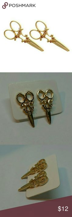 """NEW Gold Scissors Vintage Style Stud Earrings Brand New, never worn, pair of small vintage style gold tone metal scissors stud earrings. Posts have clear rubber bullet style backings. Approx 1"""" long. Perfect gift for hair dressers/stylists, seamstresses, scrapbooking lovers or anyone else always with their shears!  *NO OFFERS, PRICE FIRM UNLESS BUNDLED WITH OTHER ITEMS*  Thank you for visiting my closet, and happy poshing!! :)  SORRY, NO TRADES  BUNDLE & SAVE! Jewelry Earrings"""