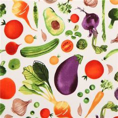 cream vegetable food fabric Robert Kaufman Metro Market Margaret Berg 1